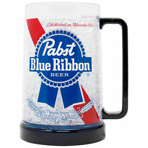 Pabst Blue Ribbon Freezeable 16 Ounce Beer Mug Clear
