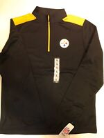NWT NFL Pittsburgh Steelers 1/4 Zip Black Pullover Long Sleeve Shirt - Size L/M
