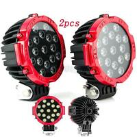 """2x 7"""" 51W LED Light Driving for Jeep 4X4 Stop Beam Offroad Truck Round Red"""