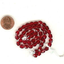 50 Czech Fire Polished 6mm Faceted Glass Beads Cranberry FINAL$ #268F