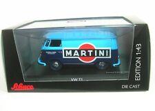 """Volkswagen T1 Kastenwagen """"martini"""" 1/43 Schuco (blue)"""