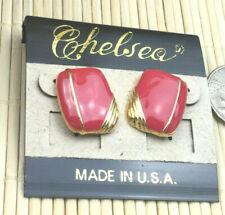 Chelsea Earrings Enamel Coral Color Goldtone Top Post Pierced