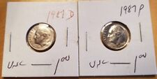 Set of 1987 Roosevelt US Dime D & P in UNCIRCULATED (UNC) Condition