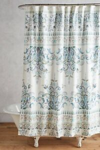 Anthropologie Florilla Shower Curtain Cotton Floral Blue Green