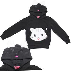 Kinder Mädchen Pullover Pulli Sweatshirt Langarm Kapuzenpullover Katzen Motiv