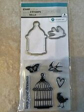 Hampton Art Clear Stamp and Die Set Live Your Dreams Bird Cage SC0790 NEW
