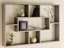 Grey Multi Compartment Wall Shelf 76cm - Home Decor Space Saving Storage Unit