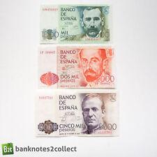 SPAIN: Set of 3 Spanish Peseta Banknotes.