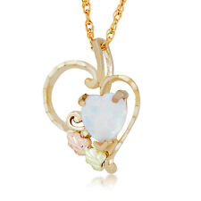 Black Hills Gold opal heart pendant lab created 18 inch womens necklace