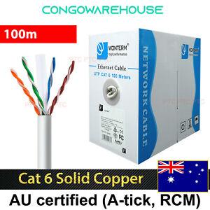 Cat 6 100m UTP RJ45 Ethernet Solid Copper core Network Lan Data cable 1000mbps