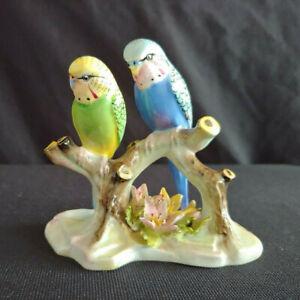 Ceramic Double Budgerigars Figurine Royal Adderley Bird Budgie Parakeets
