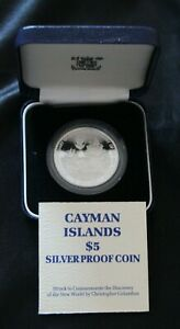 CAYMAN ISLANDS 1988 COLUMBUS 500th ANNIV SILVER PROOF $5 - boxed with coa