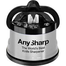 Silver AnySharp Knife Sharpener with Power Grip Worlds Best Kitchen Gadget