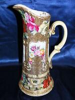 """Vintage Nippon 14"""" Ewer Vase Floral Design Gold Beading Mark #52 Hand Painted"""
