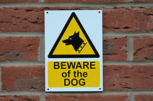 BEWARE OF THE DOG A5 plastic or dibond sign or sticker security warning
