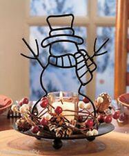 Frosty Snowman Candle Votive Holder Centerpiece Berries Pinecone Accent Decor