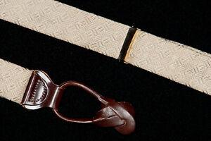 TRAFALGAR Suspenders in Sand Beige Taupe Interwoven Squares Silk Brass Hardware