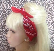NEW RED COTTON PAISLEY BANDANA HEAD HAIR NECK SCARF ROCKABILLY PIN UP URBAN 50's