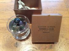 Antique LIDDED CRYSTAL GLASS POT JAM JAR with silver plated lid IN ORIGINAL BOX