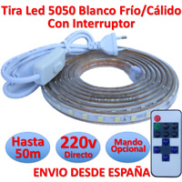 Tira de Led 220v 5050 IMPERMEABLE Blanco Frío o Cálido Waterproof IP67 strip