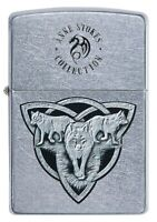 ZIPPO LIGHTER (91099) STREET CHROME ANNE STOKES WOLVES GIFT BOX NEW - AU STOCK !