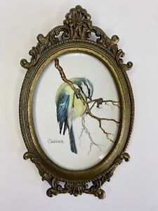 """Antique Vintage Miniature Oil Painting Bird Ornate Metal Frame Made In Italy 5"""""""