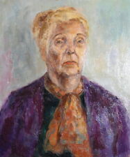 Vintage impressionist portrait oil painting old lady