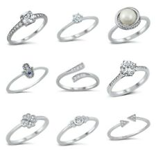 NEW! Sterling Silver 925 DESIGN CLEAR CZ RINGS SIZES 4-10