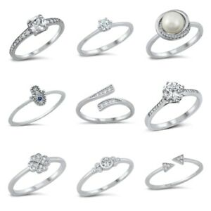Sterling Silver 925 PRETTY DESIGN CLEAR CZ BAND RINGS SIZES 4 to 10**
