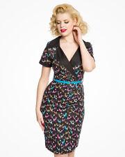 84c7b5290b LINDY BOP Ladies Vintage Style Siobhan Black Do Re Mi Deer Print Pencil  Dress
