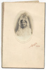 Lady wearing Lace Headdress - Antique Photo c1910 by Calle of Huelva Spain