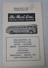 1948 Shortline bus time table Philadelphia Wilmington Dover Georgetown Lewes