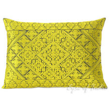 """14 X 20"""" Yellow Embroidered Bolster Sofa Long Lumbar Couch Pillow Cushion Cover"""