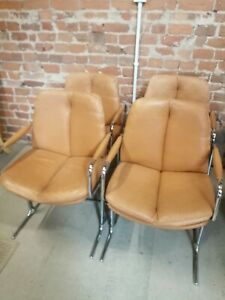 cantilever PIEFF Eleganza Carvers Dining Chairs1970s - leather/chrome