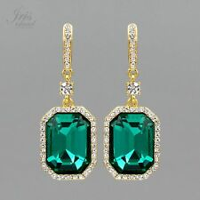 18K Gold Plated Emerald Green Crystal Rhinestone Wedding Drop Dangle Earrings 41