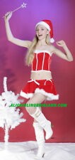 NEW Women Adult Costume Cosplay Feather Dress Santa Baby Mrs Clause Velvet RED