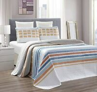 Orange Blue Grey Stripe Reversible Bedspread King/Cal King Size Quilt Coverlet