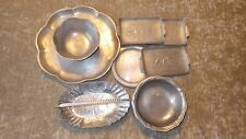 New listing Lot of 8 Vintage Aluminum Tray, Dipping Bowls, Plates (Spoon Rests) and Basket