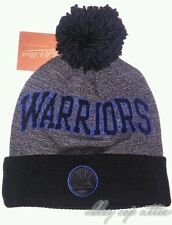 Golden State Warriors Mitchell & Ness NBA Black Board Knit Pom Beanie Hat Cap
