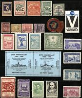 USA and World LABELS Stamps Revenue Tax Exhibition Event Postage Collection