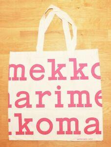 Marimekko logo bag 44x47cm, organic cotton, pink/off-white