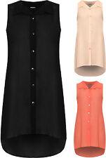 New Ladies Sleeveless Chiffon Sheer Shirt Vest Button Collar Women Top Plus Size