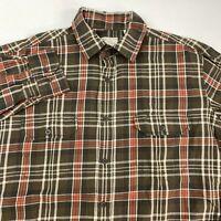 Article 365 Button Up Shirt Mens XL Brown Orange White Long Sleeve Plaid Pockets