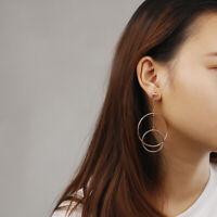 Korean Double Circle Dangling Earring Geometric Drop Stud Earrings Women Jewelry
