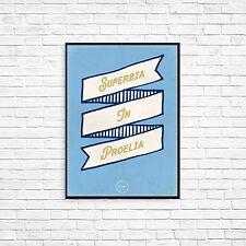 Superbia talle en proelia A4 Manchester City arte cartel impresión de Estilo Retro Vintage MCFC