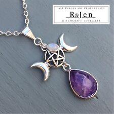 Amethyst & Rainbow Moonstone Triple Moon Pentagram Pendant Wicca Pagan Reiki