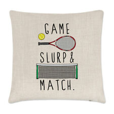 Game Slurp and Match Linen Cushion Cover Pillow - Funny Tennis Sport