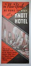 Antique Art Deco New York City Brochure - Map * Great Graphics * Knott Hotels
