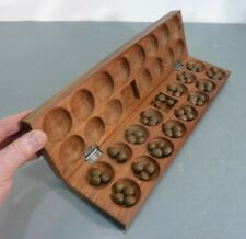 """Vtg 16"""" African Hand Carved Wood Folding 32 Hole Mancala Board Seed Pcs Wooden"""