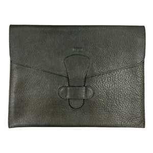 Lotuff Leather Folder Pouch iPad Mini Holder Pebbled Leather Made in USA Green